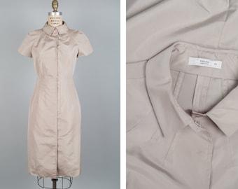 Khaki Dress S/M • Prada Dress • Silk Dress • Cap Sleeve Dress • Button Up Dress • Collared Dress • Shirtdress Made in Italy    D974