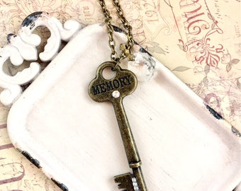 Ernestine - memory key necklace - antique style key necklace with vintage chandelier prism
