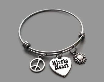 Peace Bracelet, Peace Charm Bracelet, Hippie Charm Bracelet, Hippie Bracelet, Hippie At Heart, Charm Bangle, Flower Charm, Stainless Steel