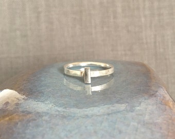 Silver Bar Ring - Size 7 - Sanded Silver Ring - Modern Silver Ring - Minimalist Silver Ring - Solitaire Silver Ring - Size 7 Silver Ring