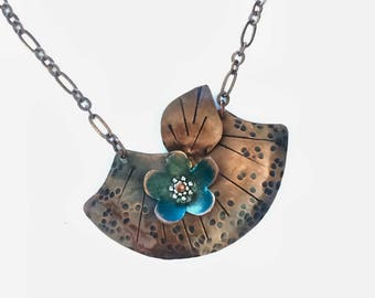 New lower price for Fall! Copper necklace, copper jewelry,  patina necklace, copper jewelry, copper necklace, statement necklace