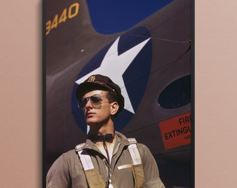 Army Test Pilot for the Douglas Aircraft Company in Long Beach, California, 1942, Vintage Art Photo Print