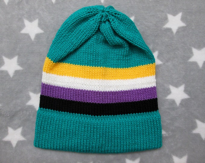 Knit Pride Hat - Nonbinary Pride - Turquoise Slouchy Beanie