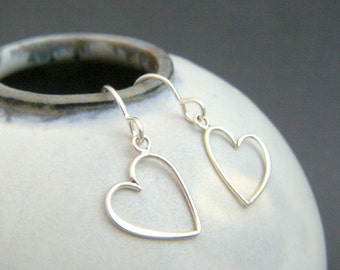 small sterling silver wire heart earrings petite everyday dangles leverback lever back hook jewelry tiny drop simple gift for her 1/2""