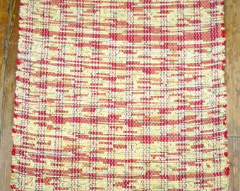 Handcrafted All Cotton Rag Rug - Yellow, Red - Inv. ID #01-0381