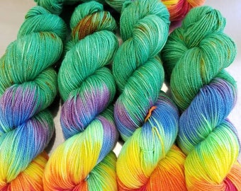 "Hand Dyed Sock Yarn, ""Easy Money"" (lot 21218), Hand Painted Speckle Yarn, SW Merino Nylon Sparkle Yarn, Shimmer Sock"