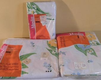 Vintage Floral Sheet Set Full Fitted Sheet Full Flat Sheet Standard Pillowcases Muslin Bedding No Iron Sheets