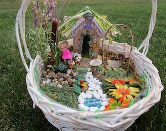 Fairy Garden, Fairy Accessories, Swing, Bell, Seashell w/ Fairy Dust, Decorative Lamps, Bird Feeder, Pond, Plant, 8 pieces total, Handmade