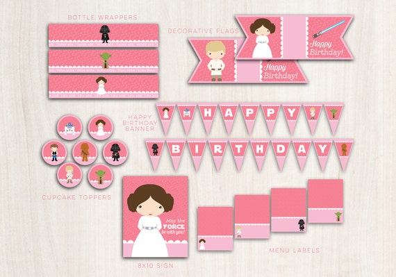 Leia Collection Party Pack  - Star Wars {inspired} Princess Party Supplies - INSTANT DOWNLOAD