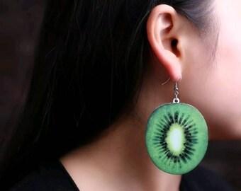 Super cute acrylic kiwi dangle earrings