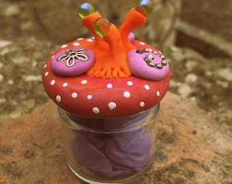 """Small decorative glass jar resin and Pearl """"h: 7cm"""""""