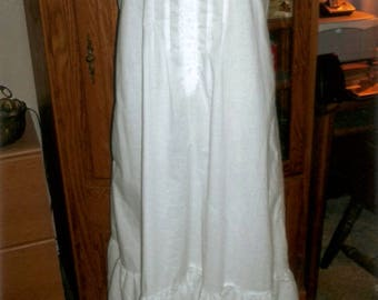 Mid Calf Length, White Cotton Victorian Nightgown, Renaissance, Sleeveless Nightgown, Woman's Cotton Nightgown, Mid Calf Length