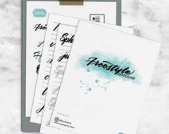 Brush Calligraphy Workbook, Freestyle lettering workbook, Calligraphy, Handletterin work sheets, Crayola, lettering workbook