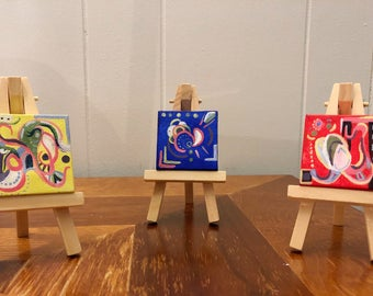 Mini Paintings on Easels