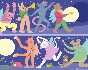 Moon Marches, Set of Two Art Prints, Animals on Parade, Marching Band, New Moon, Full Moon, Childrens Illustration