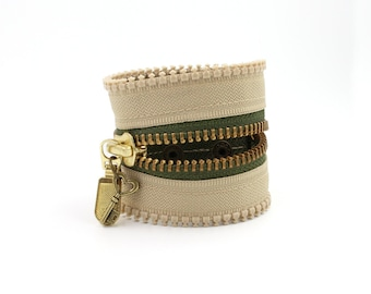 Khaki Kamikaze Zipper Bracelet / Beige and Olive Green Bracelet with Heart Key Charm