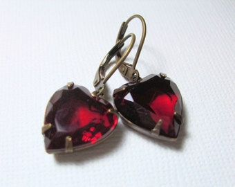 Red Jewel Earrings, Ruby Red Heart, Gift for Her