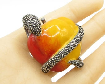 925 sterling silver - marcasite snake wrapped forbidden fruit brooch pin bp1090