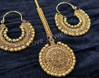 Bollywood Indian pakistani jewellery - bali (hoop) earrings  with matching tikka  - manjoos jewellery