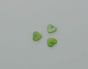 5 pendants shell green 12x12mm heart shape