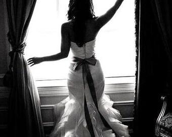 "Black 2"" 50mm Wide Silky Satin Ribbon Wedding Gown Sash"