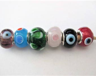 Jewelry Supplies ~  Glass Lampwork   Set/6   Spacer Beads    14x10mm   'Just Dotty'