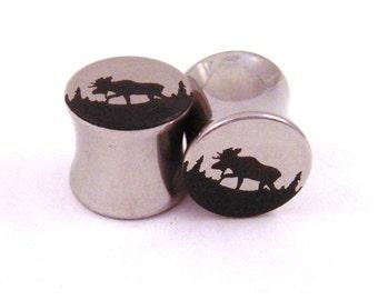 "Moose Double Flared Steel Plugs - 2g (6 mm) 0g (8 mm) 00g (10 mm) 7/16"" (11 mm) 1/2"" (13 mm) 9/16"" (14 mm) Metal Ear Gauges"