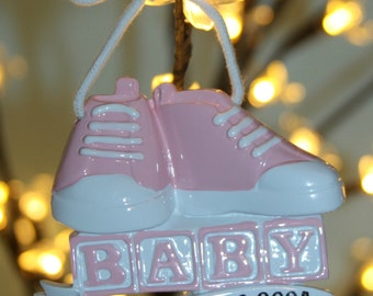 Baby Girl personalized ornament with name and birth date