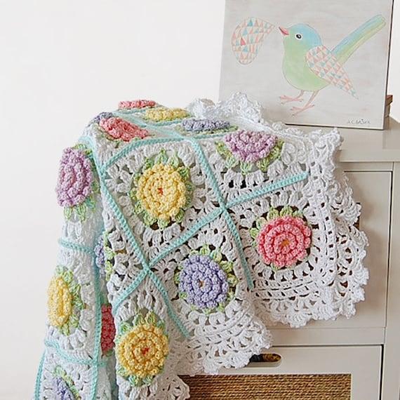 Flor patrón de manta bebé afgano de ganchillo ganchillo a
