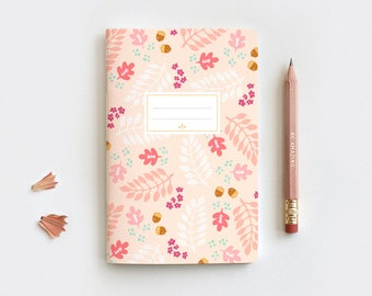 Autumn Gratitude Journal & Pencil Set, Midori Insert - Hand Drawn Fall Leaves Peach Floral Notebook - Blank Lined Dot Grid