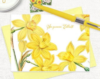 personalized stationery set - YELLOW DAFFODILS - narcissus - set of 8 folded note cards - floral stationary - yellow flowers