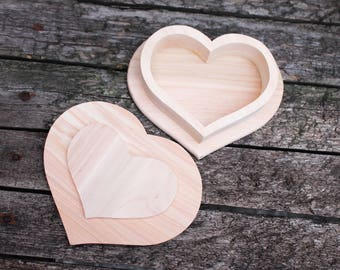 Big Heart-box unfinished wooden box 165 mm x 130 mm - with cover - natural, eco friendly - made from alder tree