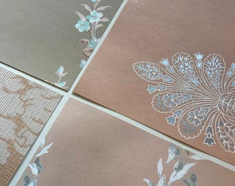 Pack of (4) -  Peach/Gray Floral Vintage Wallpaper Pack, 11x14 size