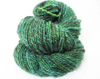 Handspun sock yarn spun from Mohair , Wensleydale, BFL and Nylon in shades of blue green