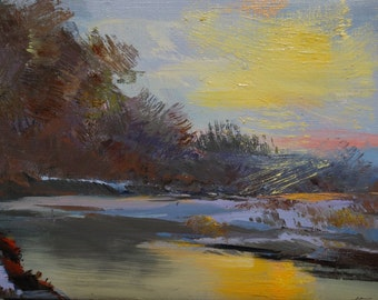 Impressionist painting, oil landscape artwork, Yellow canvas art, Small painting nature, Water painting, Sunset with lake