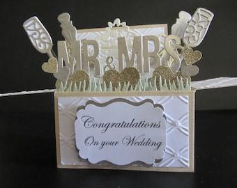 Handmade 3D greeting card,  card in a box - Wedding