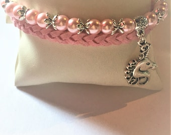 """The Unicorn and pink pearls"" bracelet"