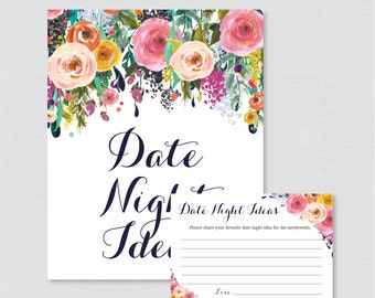 Date Night Ideas - Printable Floral Bridal Shower Date Night Idea Cards and Sign - Colorful Flower Garden Bridal Shower Activity 0002-B