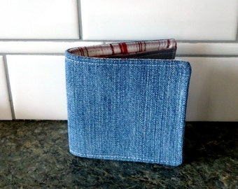 Custom Denim wallet, Choose your pocket colors, Slim Cotton Wallet for Men, Women, Boys or Girls, Vegan Sustainable, gift under 30