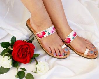 Wedding Shoes for Bride, Wedding Sandal, Wedding Flats, Bridal Flats, White Flat Sandals, Handpainted Shoes, Bridal shoes,