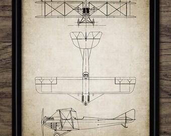 Biplane Aircraft Patent Print - 1919 Aircraft Design - Aeroplane - Aviation Art - Single Print #2045 - INSTANT DOWNLOAD