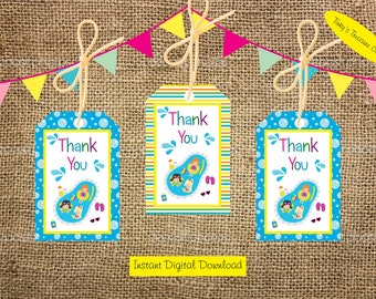 Digital Download. Pool Party Thank You Tag for Party Favour Bags. Birthday Party Decoration. JPG. A4 Sheet.  Swimming.