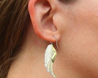 Golden Wings, Fake Gauge Earrings, Brass Shell & Mother Of Pearl Earrings, Hand Carved, Organic, Shell Wings, SS-1