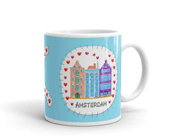 I LOVE AMSTERDAM - Illustration print of a patch with Dutch canal houses - MUG - light blue