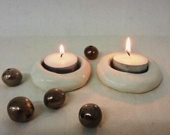Ceramic Candleholders, Tealight candlestick, Holiday decor, Shabbat Shalom, Judaica, a Trendy pair of Shabbat candlesticks, Made in Israel
