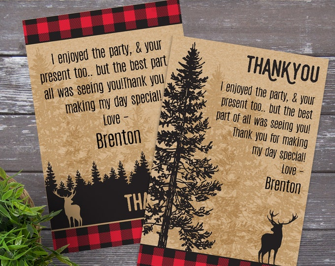 Lumberjack Party Thank You Card - Lumberjack & Jill Thank You, Birthday, Buffalo Plaid | DIY Editable Text Instant Download PDF Printable