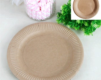 BROWN PAPER PLATES - 18cm / 23cm - Dinner Dessert Cake Plate - Party Wedding Birthday Baby Shower