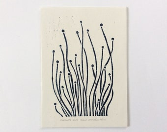 linocut - SPROUTS // 5x7 art print // block print // printmaking // dark blue // minimalist // nature art // seedlings // miniature // 4x6