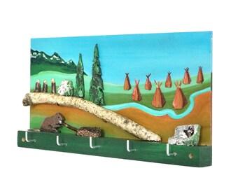 Indian Wall Key Holder, Key Hanger, Gift Idea for Kids, Key Rack, Indian Decor, Native American Art, Indian Wall Hanging, Southwest