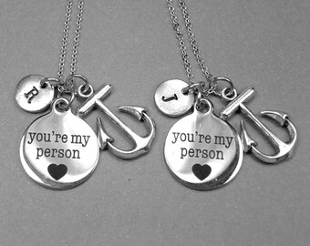 Best friend necklace, you're my person, anchor, boyfriend, girlfriend, your my person necklace, anchor necklace, long distance relationship
